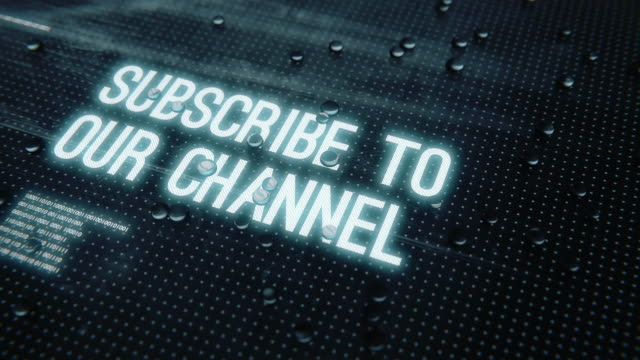 4 k subscribe to our channel text with sci fi grid and raindrops - newsletter video stock e b–roll