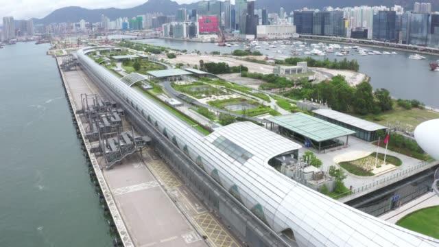 Kai Tak Cruise Terminal of Hong Kong from drone