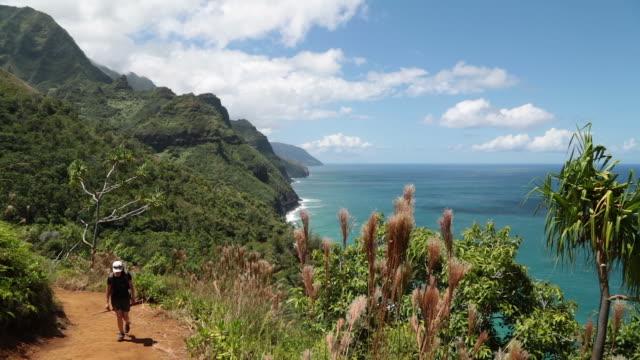 カララウトレイル風景、ナパリ海岸州立公園は、カウアイ島(ハワイ州) ビデオ