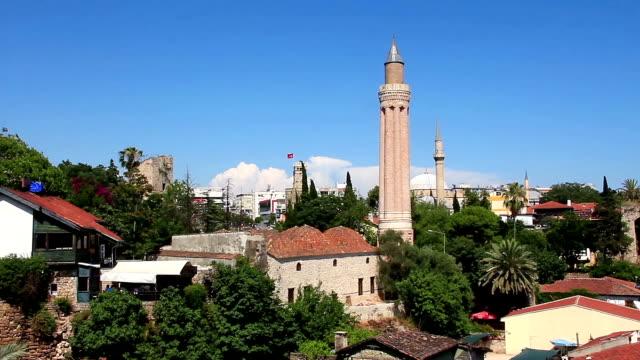 Kaleici - old town. Yivli minaret. Antalya, Turkey Kaleici - old town. Yivli minaret. Antalya, Turkey grooved stock videos & royalty-free footage
