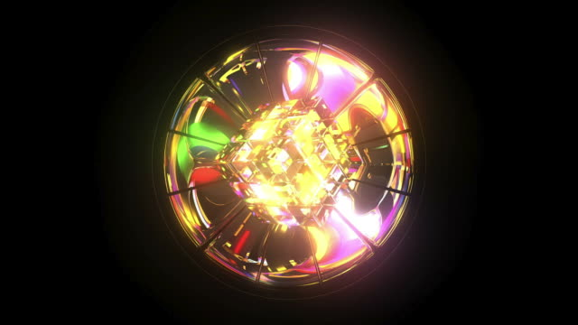 Kaleidoscope: Cube and Mirror 3D Model, Rainbow Colours, 6 second Loop video