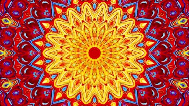 vídeos de stock e filmes b-roll de kaleidoscope effect background fractal mock up - mosaicos flores