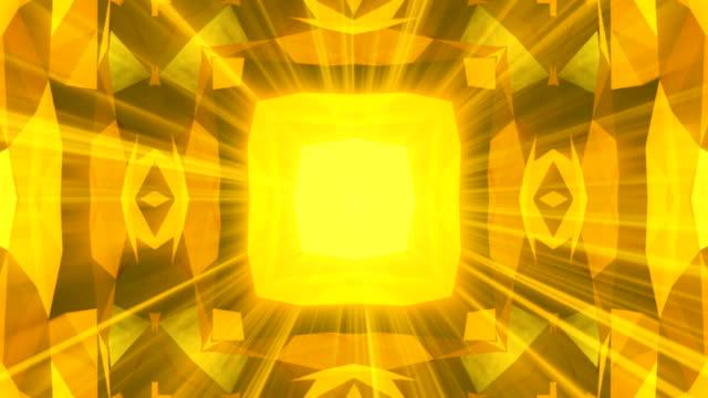 Kaleidoscope gold jewelry pattern background. 3d rendering video