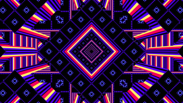 vídeos de stock e filmes b-roll de 3d kaleidoscope, looped backgrounds for video projections and stage show - design