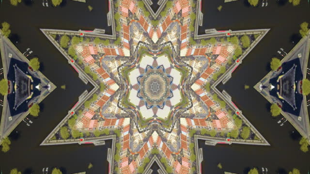 Kaleidoscope of an aerial view of Dublin Ireland Kaleidoscope of an aerial view of Dublin Ireland illusion stock videos & royalty-free footage