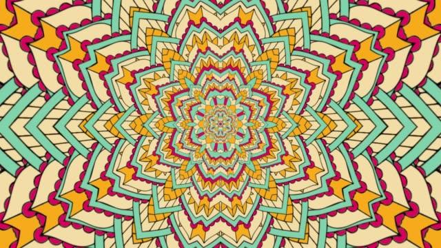 kaleidoscope sequence patterns. flower mandala loop - узор калейдоскоп стоковые видео и кадры b-roll