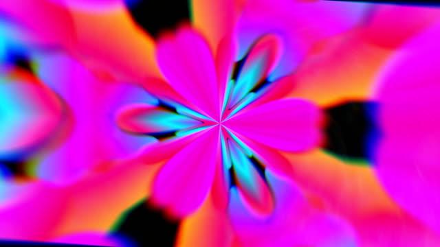 vídeos de stock, filmes e b-roll de caleidoscópio com aberração cromática colorido, computador abstrato gerado pelo fundo, render 3d - organic shapes