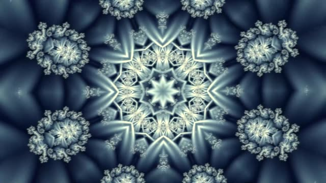 kaleidoscopic transformation of snowflakes into various shapes and figures
