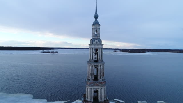 Kalyazin. Aerial view. Bell tower on the island. video