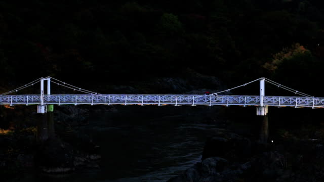 Kamuioohasi(Bridge) lit up for the first time in 30 years 30年ぶりにライトアップされた神居大橋 suspension bridge stock videos & royalty-free footage