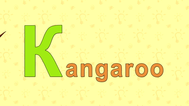 Kangaroo. English ZOO Alphabet - letter K Animation English alphabet. Letter K and word  Kangaroo. 2D handmade animation. kangaroo stock videos & royalty-free footage