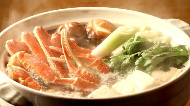 kaninabe The food served in a pot which did crab mainly cooking pan stock videos & royalty-free footage