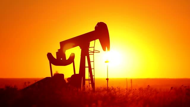 Kansas Oil Pump With Glowing Sun video