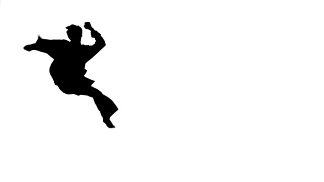 Karate flips and leg sweeps, Silhouette, hand movements, Slow motion video