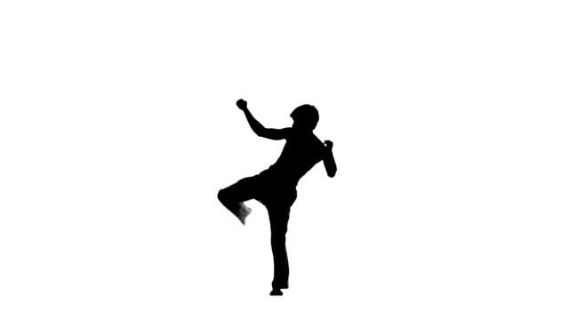 karate or taekwondo makes several hops around you, silhouette - karate stok videoları ve detay görüntü çekimi
