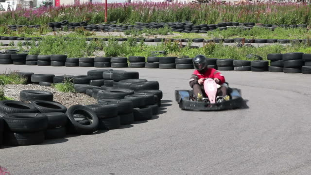 Karting, Motor racing round the track  go cart stock videos & royalty-free footage
