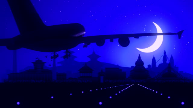Kathmandu Nepal Blue Landing Skyline Midnight Background video