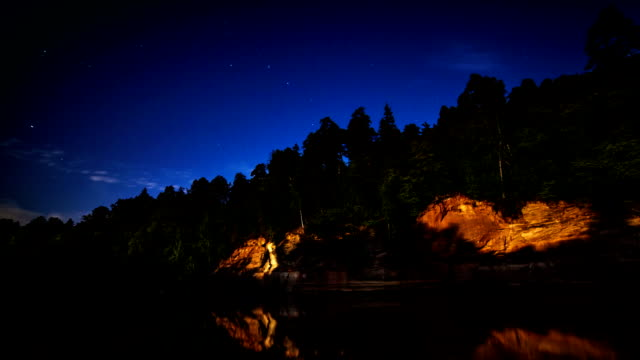 Katrina cliff at night Time lapse at night of Katrina cliff on shore of river Gauja illuminated by moon and fireplace with sky full of stars. baltic countries stock videos & royalty-free footage