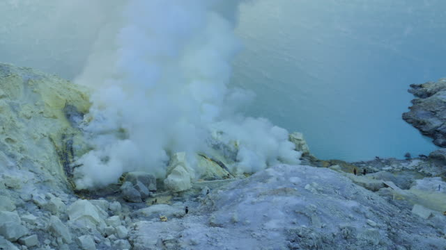 Kawah Ijen crater lake where the sulfur video
