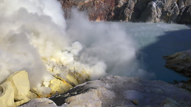 Kawah Ijen crater lake where the sulfur Kawah Ijen crater lake where the sulfur being extracted by the Indonesian miners ,East Java,Indonesia heat haze stock videos & royalty-free footage
