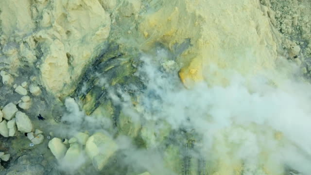 Kawah Ijen, Volcanic crater, where sulfur is mined video