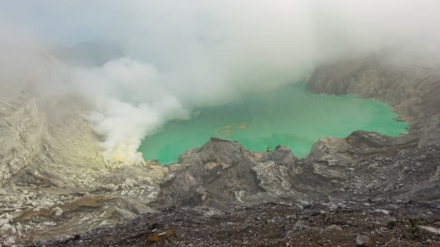 Kawah Ijen volcano has been spewing gas out all the time, Indonesia video