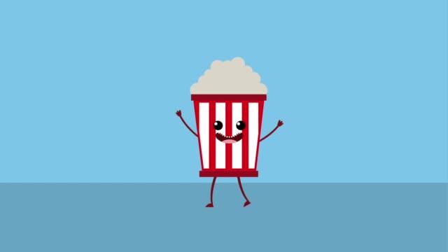 vídeos de stock, filmes e b-roll de desenhos animados de alimentos kawaii - balde pipoca