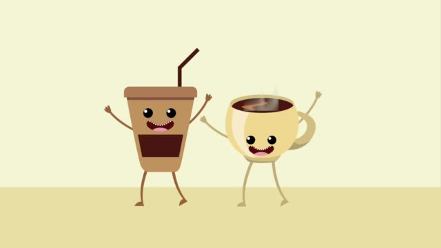 kawaii food cartoon - bevanda calda video stock e b–roll