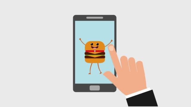 kawaii food online - simbolo concettuale video stock e b–roll