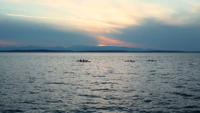 Kayakers on a Seattle Sunset video