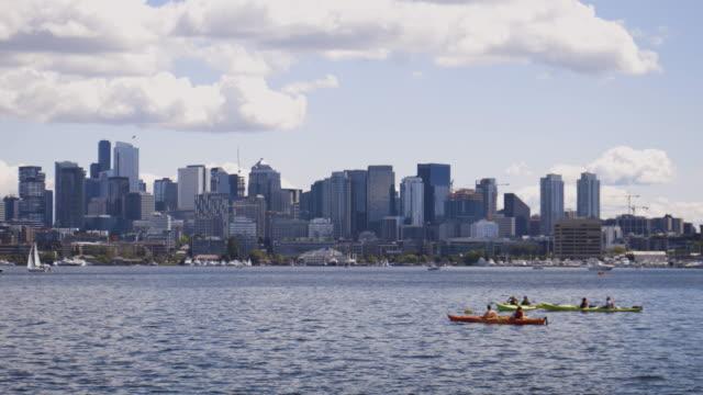 Kayakers Paddling in Lake Union Seattle Washington video