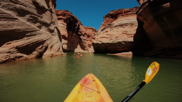 POV kayaking in canyons of Powell lake recreational area