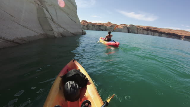 Video POV kayaking in canyons of Powell lake recreational area