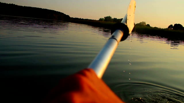 Kayaking on river, action camera angle, POV, tourism, sport video