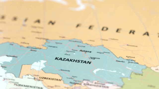 ASIA Kazakhstan on World Map tracking to Kazakhstan on World Map kazakhstan stock videos & royalty-free footage