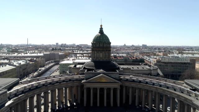 Kazan Cathedral, St. Petersburg aerial video