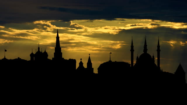 Kazan Kremlin with the dreamy sunset video