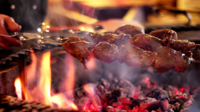 Kebab prepared on the grill in the restaurant video