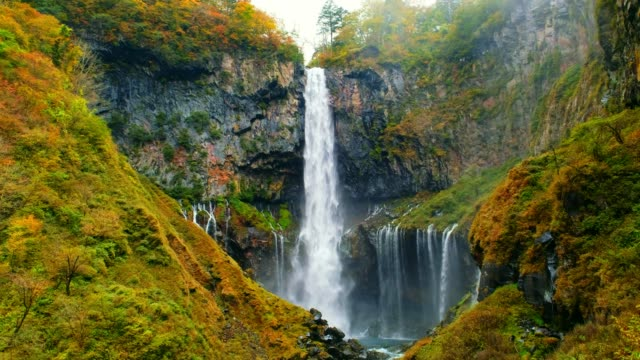 kegon-wasserfall im herbst bäume bunt wasserfall von see chuzenji in nikko-nationalpark, gegen weiße isoliert himmel, schön im herbst in tochigi, japan - wasserfall stock-videos und b-roll-filmmaterial