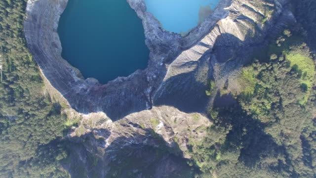 Kelimutu coloured lakes flyover video