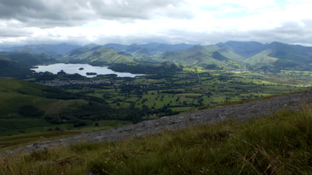 Keswick town and Derwentwater lake in the valley video