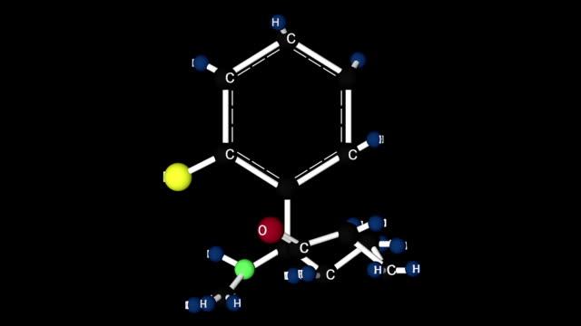 stockvideo's en b-roll-footage met ketamine drug molecule structuur. - ketamine
