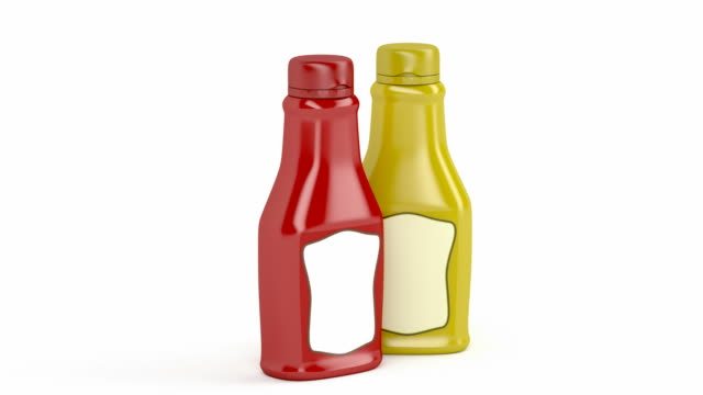 Ketchup and mustard bottles video