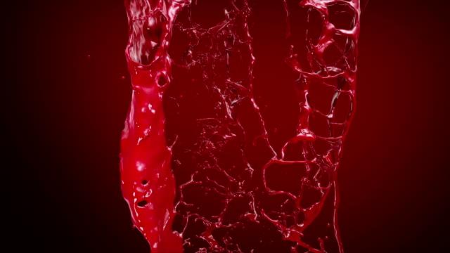 Ketchup, Blood, Red liquid Splashing. Slow motion. video