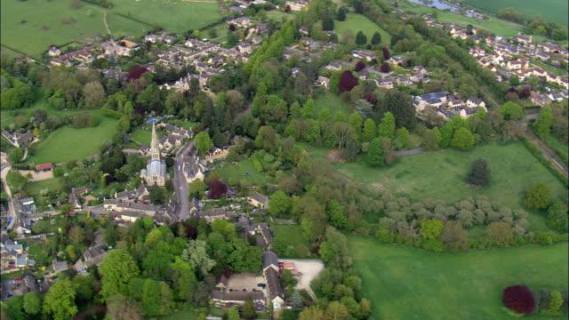 Ketton Church  - Aerial View - England,  Rutland,  Ketton,  United Kingdom video