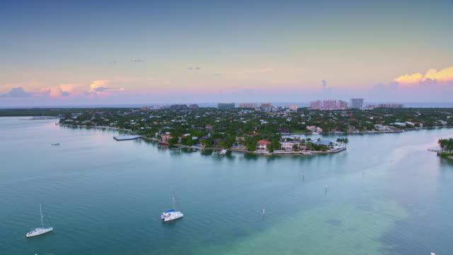 AERIAL Key Biscayne, FL at sunset
