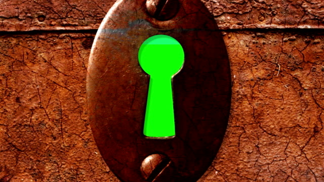 key hole key hole with green screen from outside. Zoom in keyhole stock videos & royalty-free footage