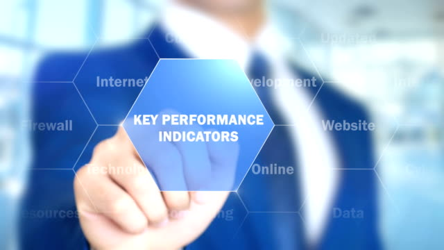 Key Performance indicators, Man Working on Holographic Interface, Visual Screen video