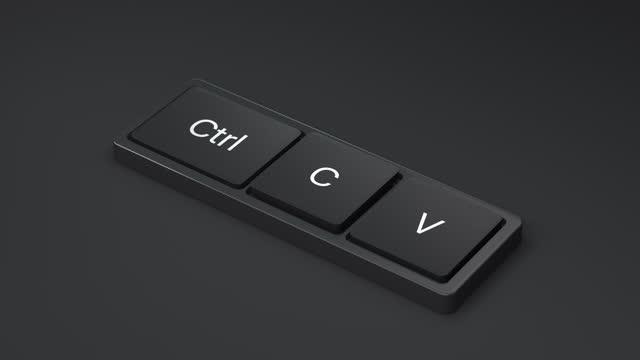 vídeos y material grabado en eventos de stock de teclado para copiar pasta - copiar