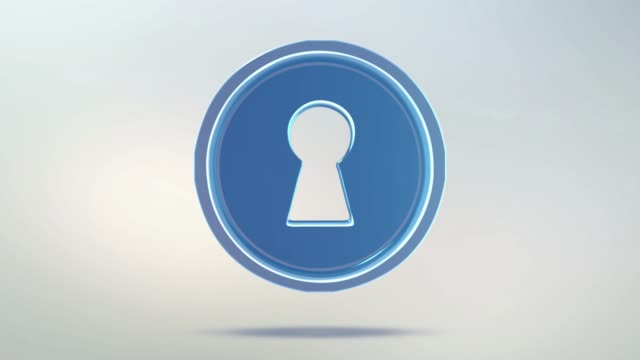 Keyhole icon is made of glass. Translucent rotating key icon with alpha channel blue green color. Seamless looping symbol 3D figure Keyhole icon is made of glass. Translucent rotating key icon with alpha channel blue green color. Seamless looping symbol 3D figure. keyhole stock videos & royalty-free footage